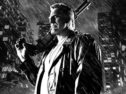 na zdjęciu jest mężczyzna z pistoletem w dłoni-kadr z filmu Sin City