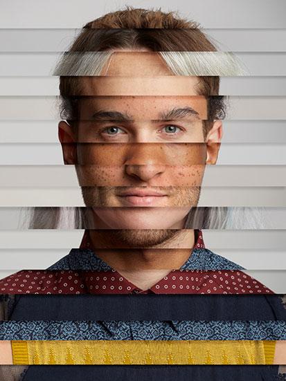 na zdjęciu jest twarz mężczyzny skomponowana z części twarzy innych ludzi