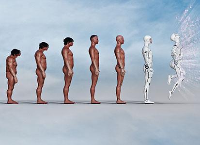 na zdjęciu jest 7 postaci przedstawiających ewolucję, od neandertalczyka do super robota