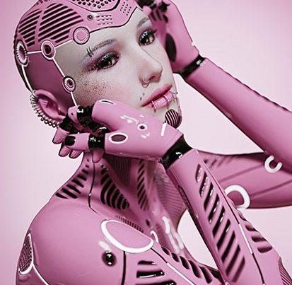 na zdjęciu jest portret kobiety androida z kilkoma kolczykami w dolnej wardze