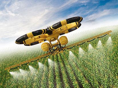 na zdjeciu jest dron nawadniający pole