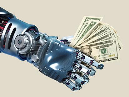 na zdjęciu ręka robota trzyma dolary