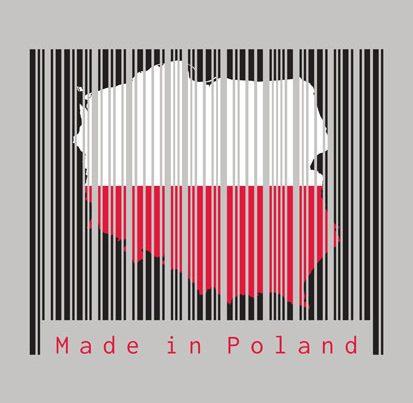 na zdjeciu jest kod kreskowy z flagą polski i napisam Made in Poland