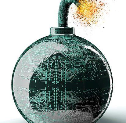 na zdjeciu jest bomba na powierzchni której są obwody drukowane