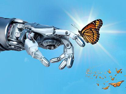 na zdjęicu jest ręka robota a na jednym z palców siedzi motyl