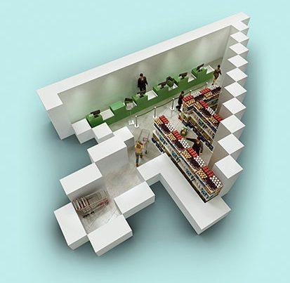 na zdjeciu jest kursor komputerowy w kształce strzłaki, wewnątrz której jest womntowany obrazek sklepu spożywczego