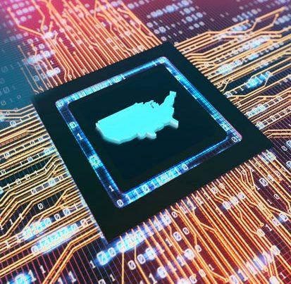 na zdjęciu jest procesor, na którym widnieje mapa USA
