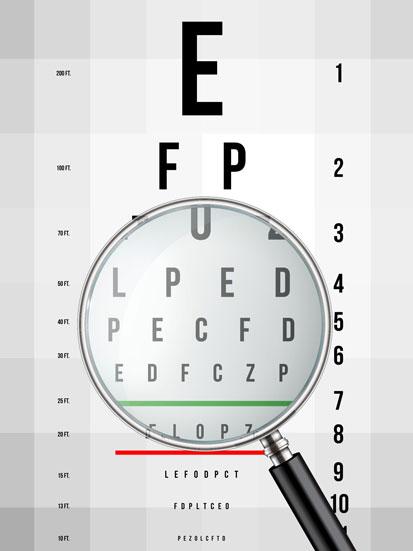 na zdjęciu jest tablica okulityczna a przed nią lupa powiekszająca