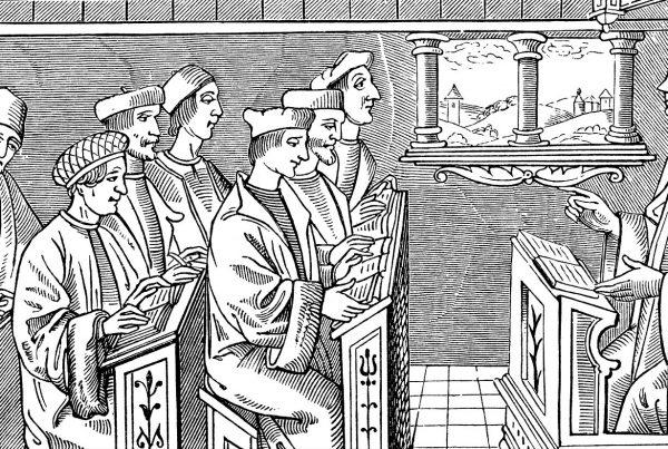 grafika prezetująca szkołę średniowieczną, grupa siedzących uczniów i stojący nauczyciel