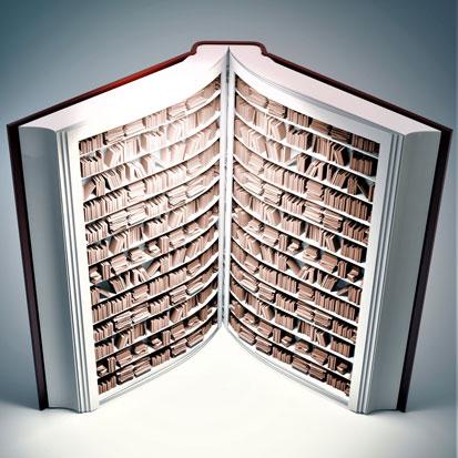 na zdjęciu jest otwarta książka, która wewnątrz ma półki z książkami