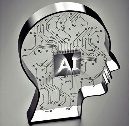 na zdjęciu jest plyta komputera w kształcie głowy a na procesorze po środku jest symbol AI