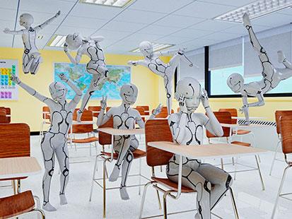 na zdjęicu jet klasa szkolna i roboty dzieci szalejące