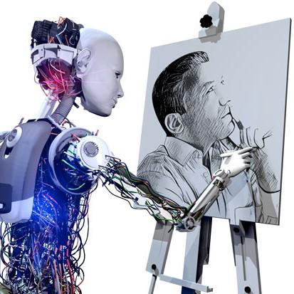 na zdjęciu jest robot rysujący portret czlowieka