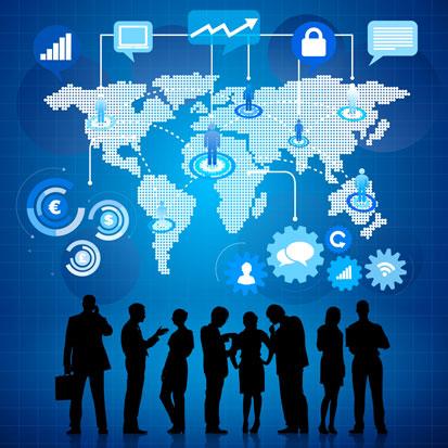 infogafika przedstawiająca ludzi biznesu z telefonami komórkowymi oraz świat internetu i połączenia miedzy poszczególnymi elementami