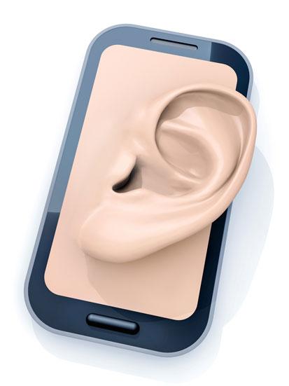 na zdjęciu jest smartfon z uchem