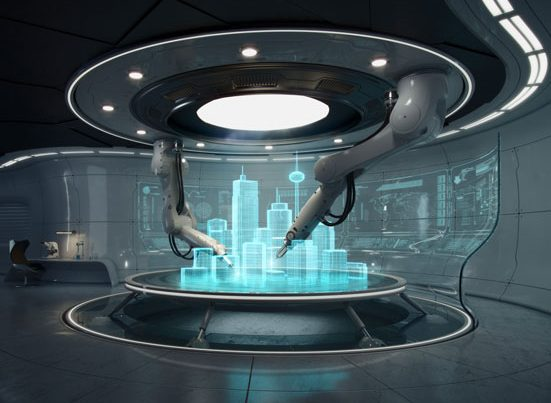 na zdjęciu hologram inteligentnego miasta przyszłości