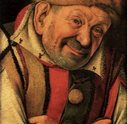 na zdjęciu jest portret głupca z 1444 roku, namalowany przez Jean Fouquet