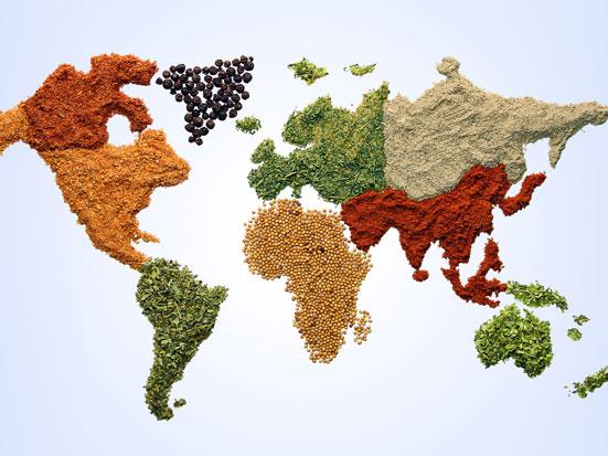 na zdjeciu jest mapa świata zrobiona z różnych przypraw