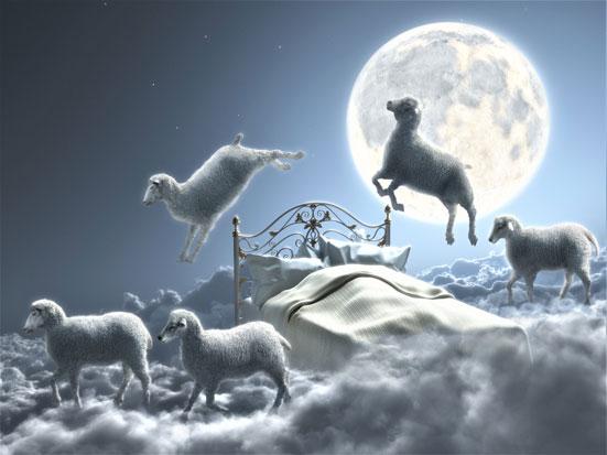 na zdjęciu widać owieczki przeskakujące przez łóżko na tle księżyca