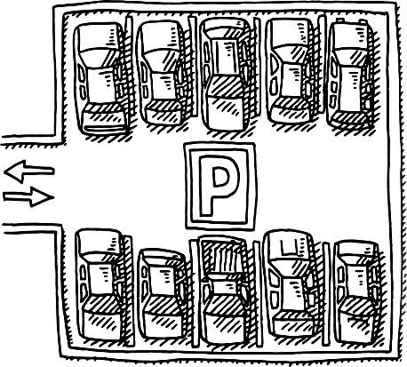 nagrafice jest znak parkingu, i dwa rzędy samochodów