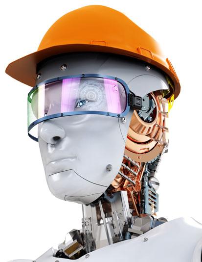 na zdjęciujest głowa robota z kaskiem budowalnym i okularami ochronnymi