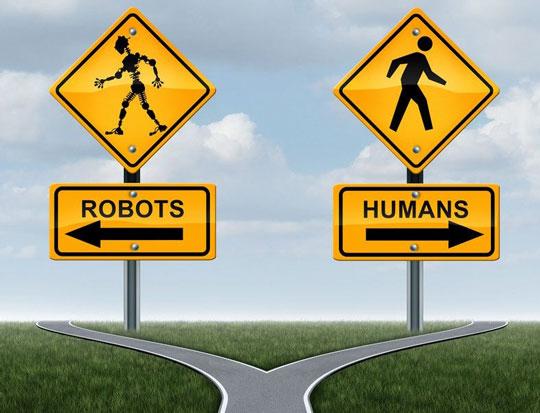 na zdjęciu sa dwa znaki drogowe - robot i człowiek a każdy z nich idzie w przeciwnym kierunku