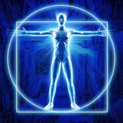 na zdjęciu jest człowiek witruwiański Leonardo da Vinci w postac elektronicznej