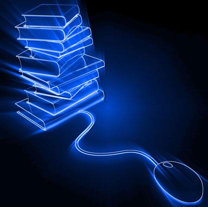 na zdjęciu jest myszka komputerowa podłączona do stosu książek