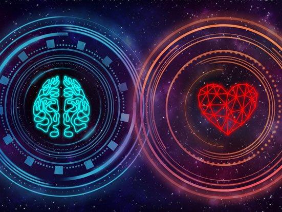serce i mózg jako symbole rozumu i emocji