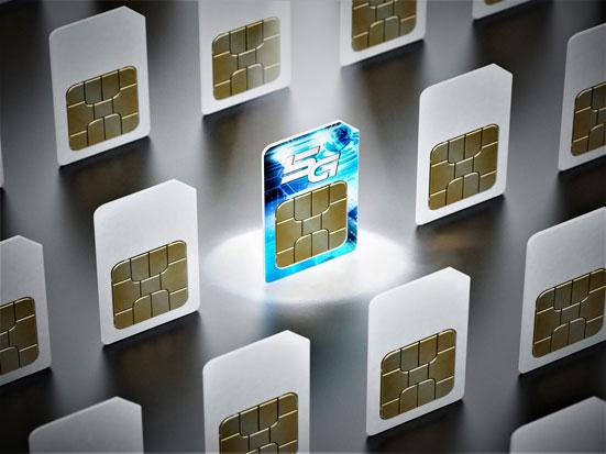 na zdjęciu sa karty sim, na jednej jedst napis 5G