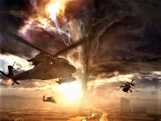 helikoptery lataja wokól tornada