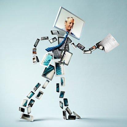 meżczyzna niosący dokument, jego ciało zrobione jest z urzadzeń elektronicznych tyou telefon, tablet itp